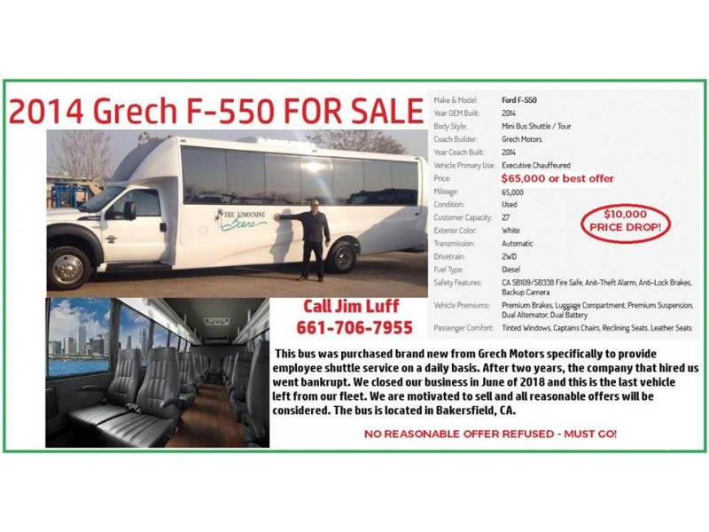 Used 2014 Ford F-550 Mini Bus Shuttle / Tour Grech Motors - Bakersfield, California - $65,000